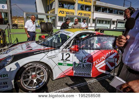 Vallelunga, Rome, Italy. June 24 2017. Italian Porsche Carrera Cup Alessio Rovera Racing Driver On S