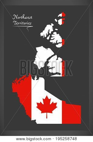 Northwest Territories Canada Map With Canadian National Flag Illustration