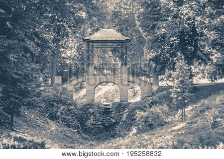 Old vintage photo. Chinese-style bridge in park copy space