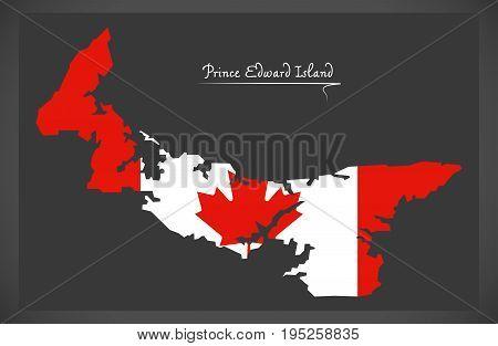 Prince Edward Island Canada Map With Canadian National Flag Illustration