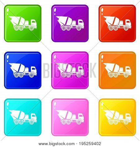 Building mixer for concrete icons of 9 color set isolated vector illustration