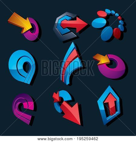 3d vector abstract shapes different business icons and design elements collection. Geometric abstract arrows for use as navigation pictograms and app buttons.