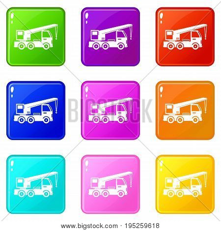 Truck mounted crane icons of 9 color set isolated vector illustration