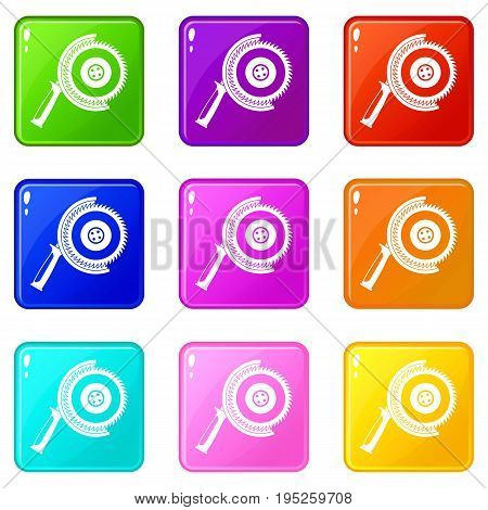 Circle saw icons of 9 color set isolated vector illustration