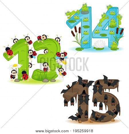 set of numbers with number of animals from 13 to 15 - vector illustration, eps