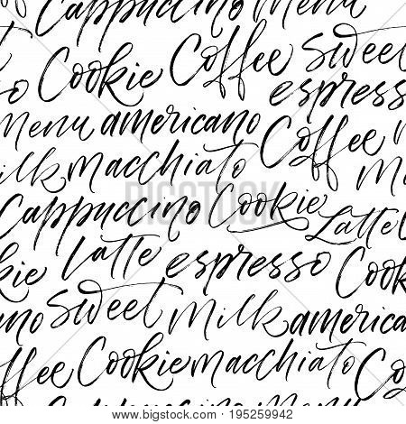 Seamless coffee pattern. Coffee Latte Milk Macchiato Americano phrases. Ink illustration. Hand drawn ornament for wrapping paper.