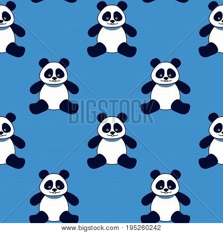 seamless background panda bears on a blue background