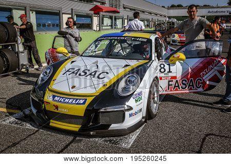 Vallelunga, Rome, Italy. June 24 2017. Italian Porsche Carrera Cup Lino Curti Racing Driver On Start