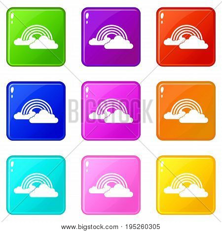 Rainbow and clouds icons of 9 color set isolated vector illustration