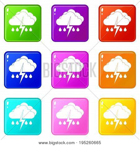 Cloud with lightning and rain icons of 9 color set isolated vector illustration