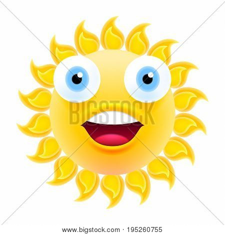 Happy Smiling Sun Emoticon With Open Mouth