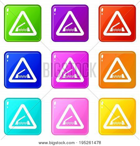 Lifting bridge warning sign icons of 9 color set isolated vector illustration