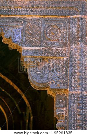 carved design motif on Teen darwaza panhala fort also known as Panhalgad Pahalla and Panalla is located in Panhala 20 kilometres northwest of Kolhapur in Maharashtra India.