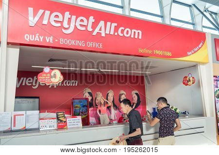 Danang, Vietnam - August 15, 2015: airline counter at Danang International Airport in central Vietnam.