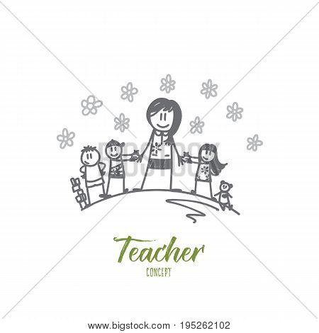 Teacher concept. Hand drawn portrait of teacher with pupils. Group of learners with female teacher isolated vector illustration.