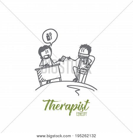 Therapist concept. Hand drawn doctor and patient in clinic. Doctor's appointment isolated vector illustration.