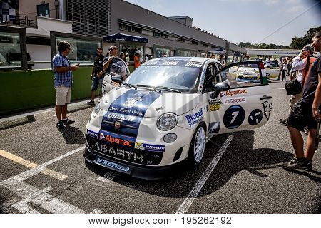 Vallelunga, Rome, Italy. June 25 2017. Trofeo Abarth Selenia, Fiat 500 Cars On Starting Grid