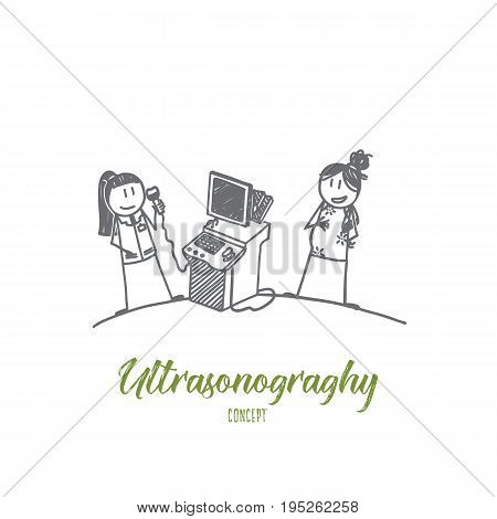 Ultrasonography concept. Hand drawn ultrasound examination of the fetus. Pregnant woman in gynecological surgery isolated vector illustration.