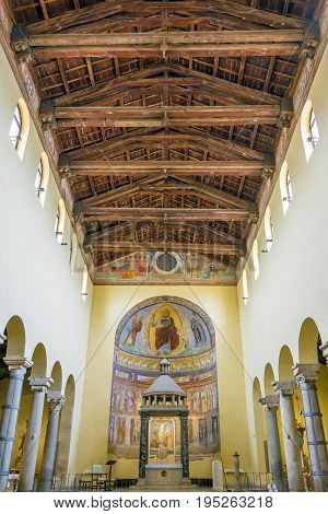 Rome Italy march 24 2017: Interior with the central nave and roof of the ancient basilica church of San Saba in Rome.