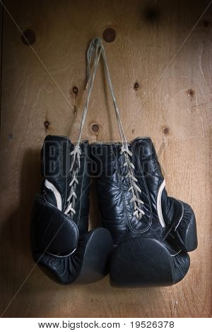boxing gloves - well worn & hanging up