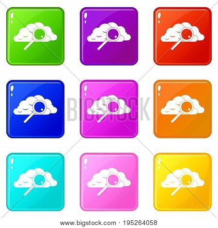Cloud with magnifying glass icons of 9 color set isolated vector illustration