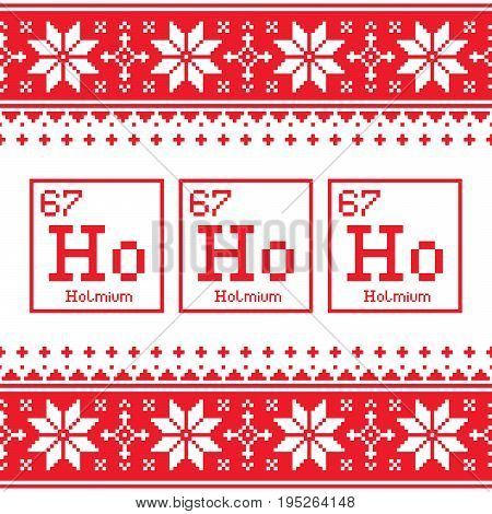 Geek Christmas seamless pattern, Ho Ho Ho chemistry periodic table background, ugly Xmas sweater or jumper style