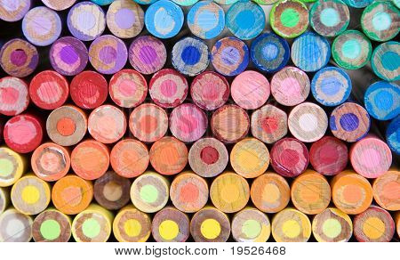 rainbow of pencil crayons - macro