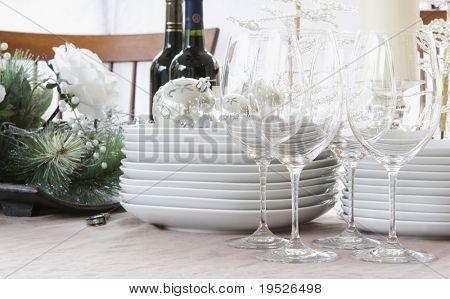 christmas dinner table - white, bright, & modern