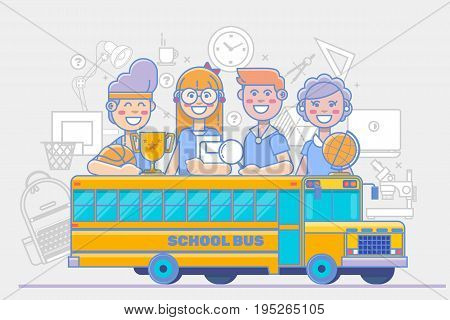 School children activities. linear education poster isolated on white background. Flat vector illustration