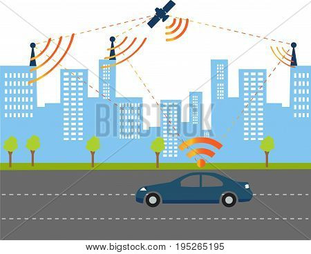 Traffic and wireless network Intelligent Navigation Systems. Smart Car.Automobile sensors use in self-driving Electric car coordinated by satellites.