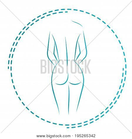 Logo and icon for the masseur or orthopedic. Naked woman back. The girl from behind. Vector