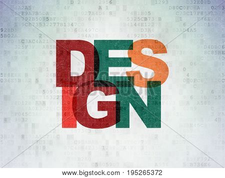 Advertising concept: Painted multicolor text Design on Digital Data Paper background