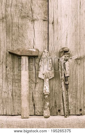 Old Rusty Hammer, Trowel And Adjustable Wrench