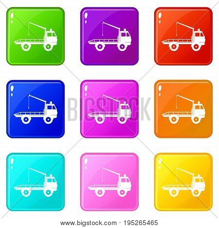 Car towing truck icons of 9 color set isolated vector illustration