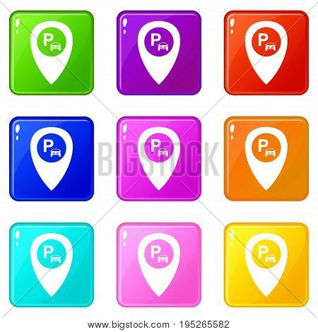 Map pointer with car parking icons of 9 color set isolated vector illustration