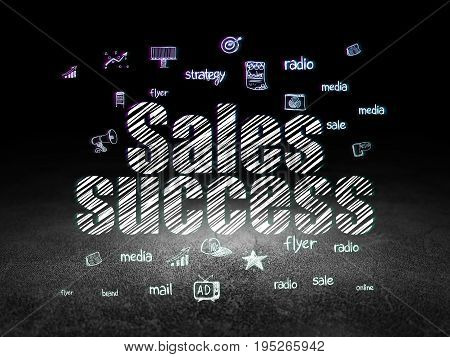 Marketing concept: Glowing text Sales Success,  Hand Drawn Marketing Icons in grunge dark room with Dirty Floor, black background