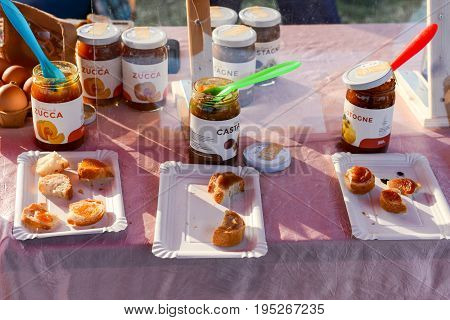 Agno, Switzerland - 12 March 2016: Homemade jam for sale at a farmer's market