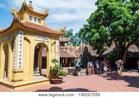 Hanoi, Vietnam - August 16, 2015: Tran Quoc Pagoda on West Lake is the oldest Buddhist temple in Hanoi.