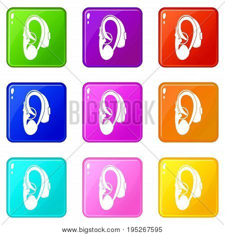 Hearing aid icons of 9 color set isolated vector illustration