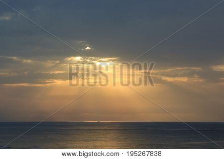 Sunset on the Mediterranean Sea in september, Tunisia