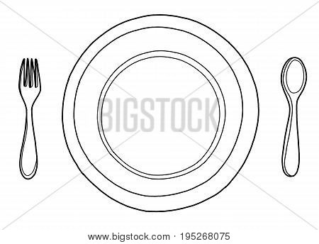 Freehand outline ink hand drawn picture logo sketch in art doodle retro style pen on paper. Close up top view with space for textclean diner steel tool ware object set isolated