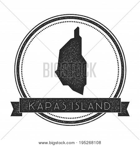 Kapas Island Map Stamp. Retro Distressed Insignia. Hipster Round Badge With Text Banner. Island Vect