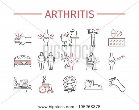 Arthritis. Symptoms, Treatment. Line icons set. Vector signs for web graphics