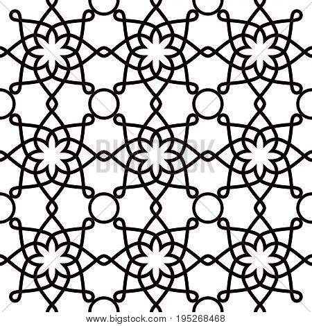 Geometric seamless pattern, Arabic ornament style, tiled design in black and white