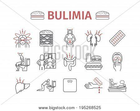 Bulimia. Symptoms, Treatment. Line icons set. Vector signs for web graphics