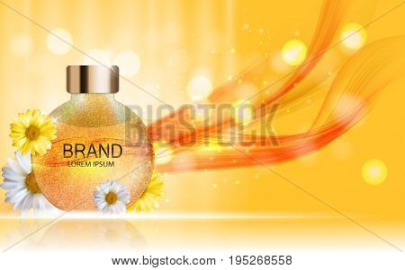 Shower Gel, Cream Bottle with Flowers Chamomile Template for Ads, Announcement Sale, Promotion New Product or Magazine Background. 3D Realistic Vector Iillustration. EPS10