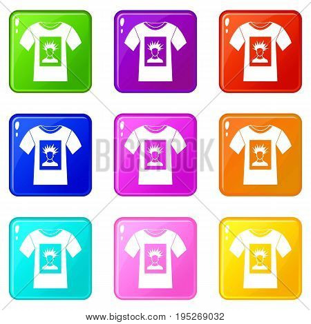 White shirt with print of man portrait icons of 9 color set isolated vector illustration