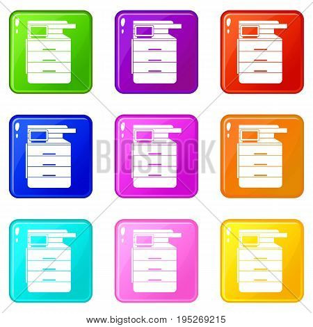 Multipurpose device, fax, copier and scanner icons of 9 color set isolated vector illustration