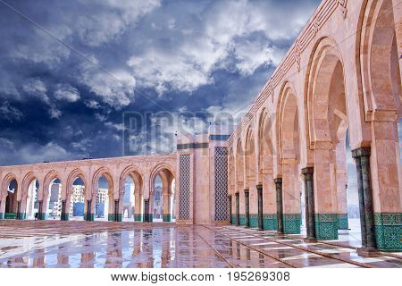Gallery columns of Famous Hassan II Mosque in Casablanca, Morocco