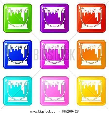 Paint can icons of 9 color set isolated vector illustration